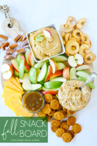 fall snack board with apples
