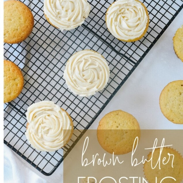 cupcakes with brown butter icing on them