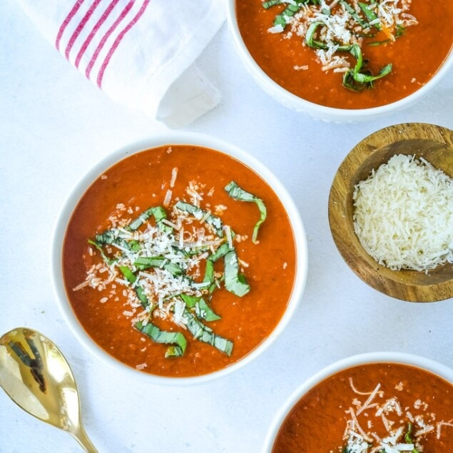 three bowls of instant pot tomato soup