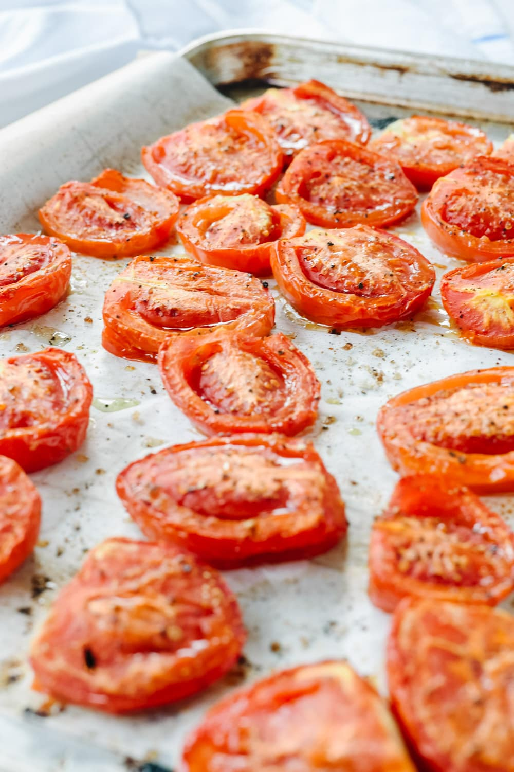tomatoes on a cookie sheet