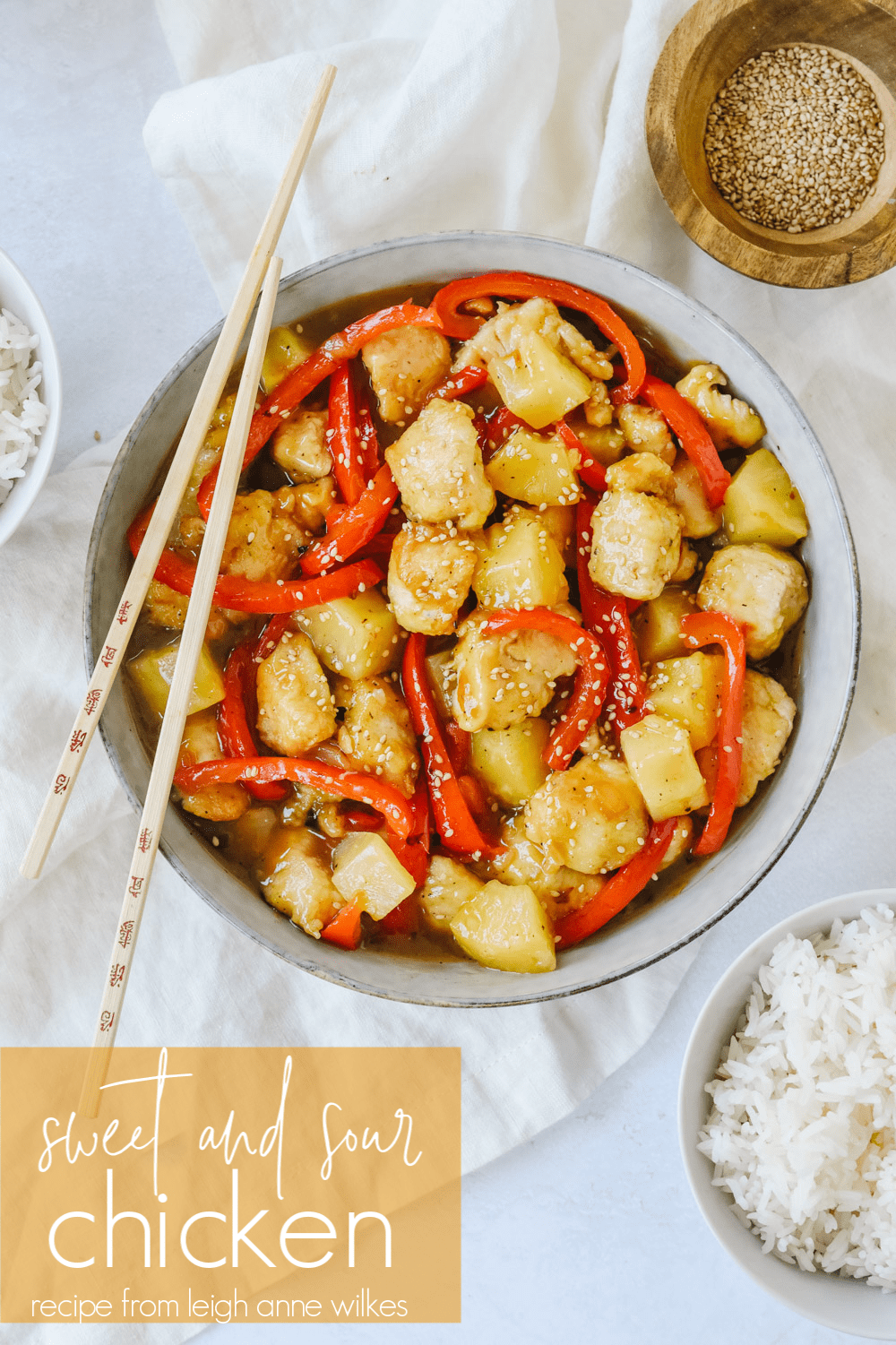 sweet and sour chicken with chopsticks
