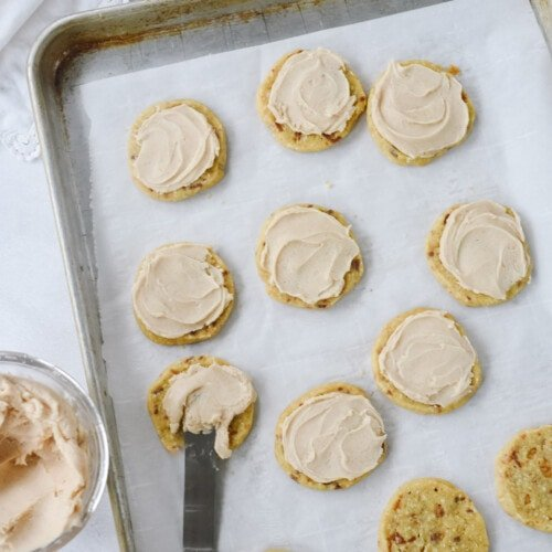 Frosting almond toffee cookies