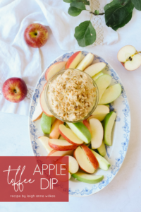 apple toffee dip on a platter with apples