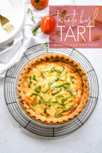 tomato basil tart on a cooling rack