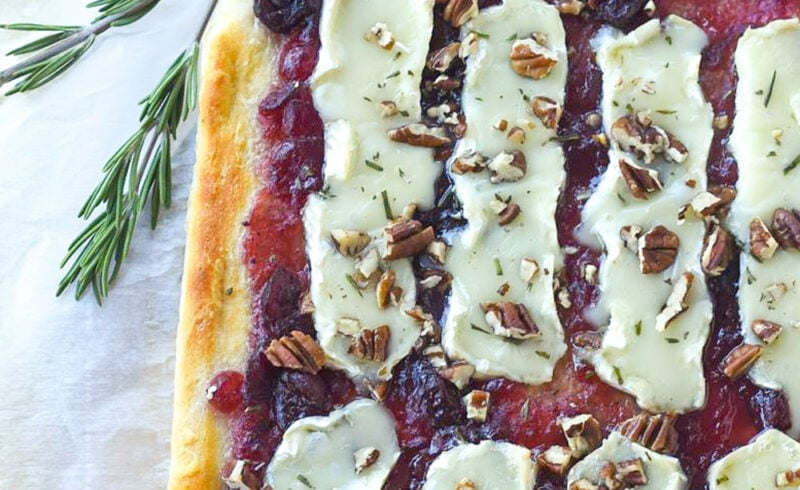 Cranberry Brie pizza with pecans