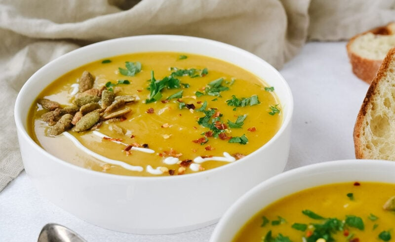 bowl of soup with pumpkin seeds