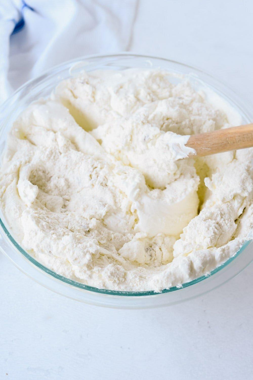 mixing cream scones