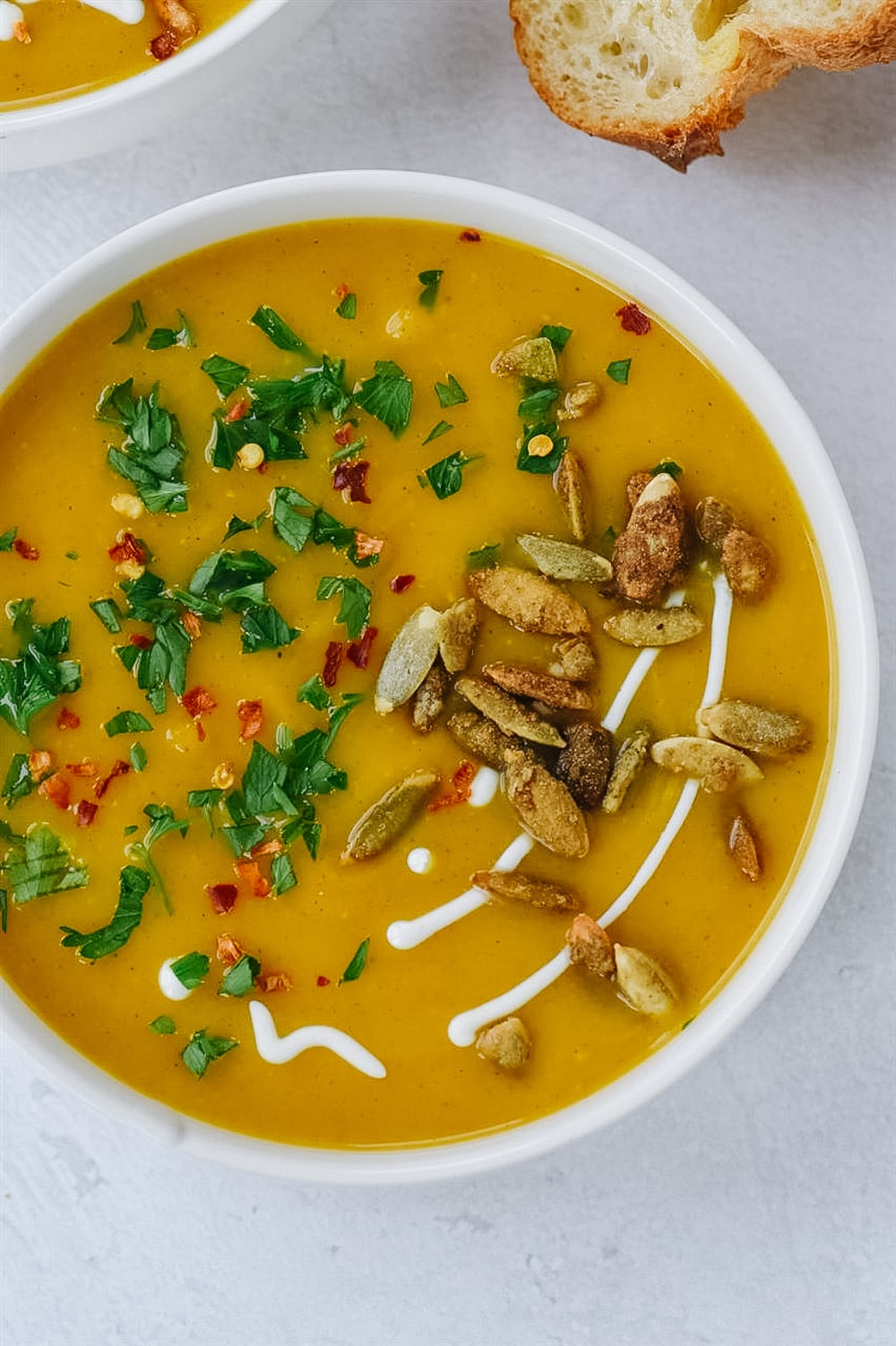 large bowl of butternut squash soup