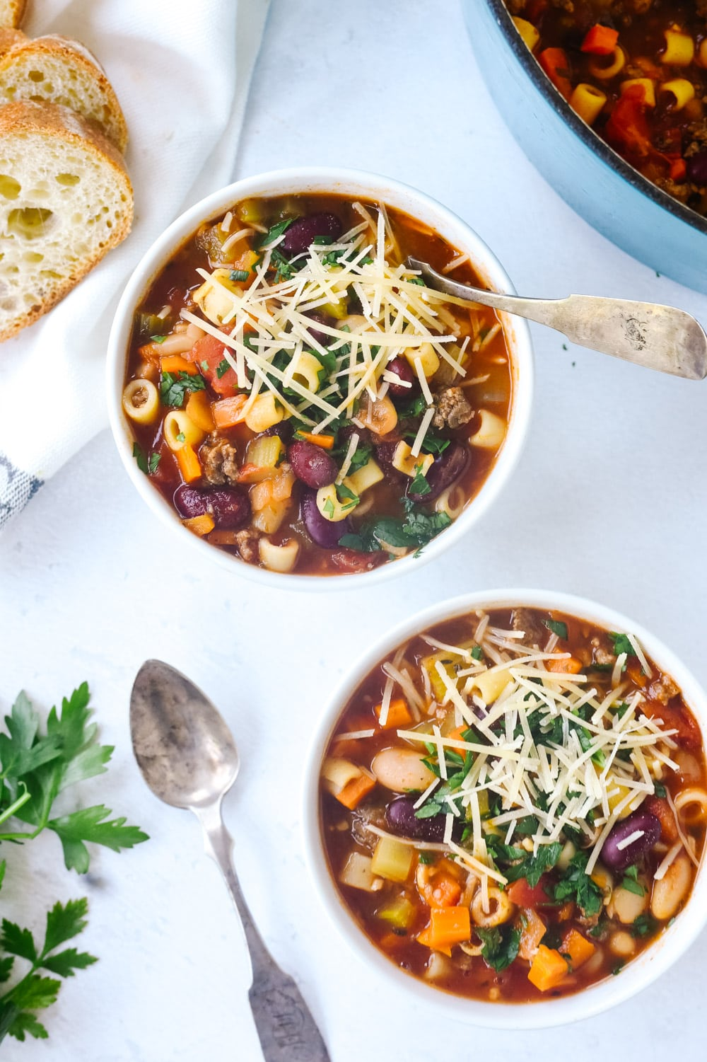 Two bowls of pasta fagioli soup