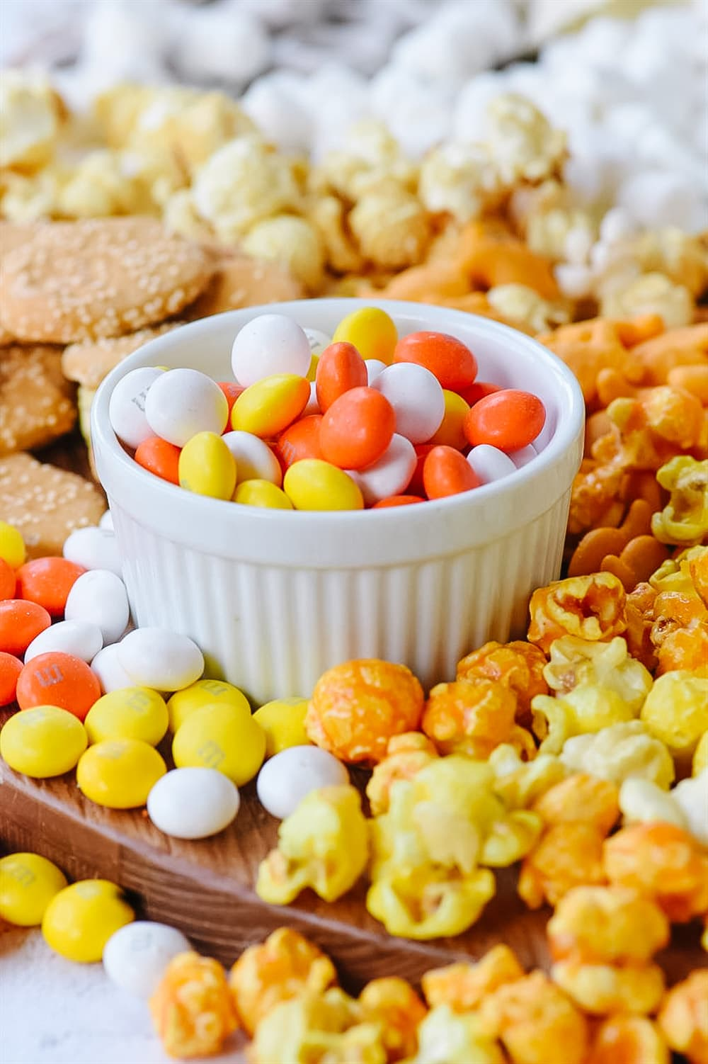 Candy Corn M & M's in a bowl