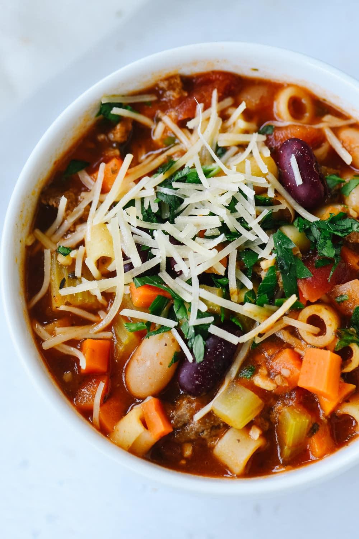 Close up of a bowl of pasta fagioli soup