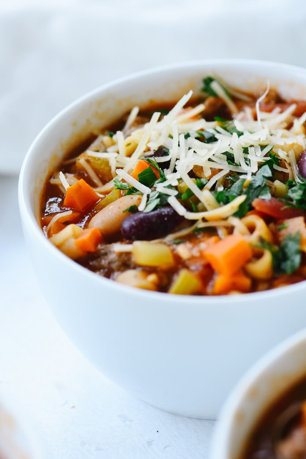 close up of bowl of pasta fagioli soup