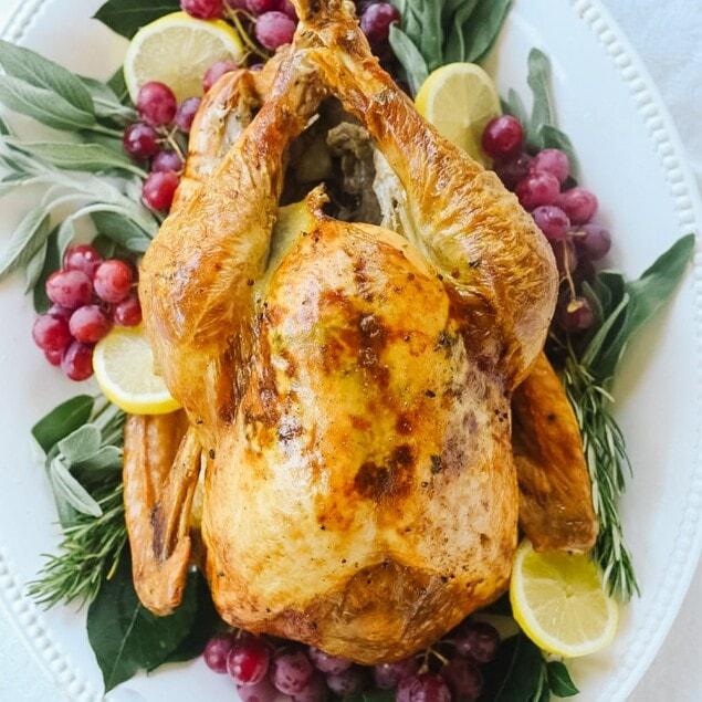 whole roasted turkey on platter