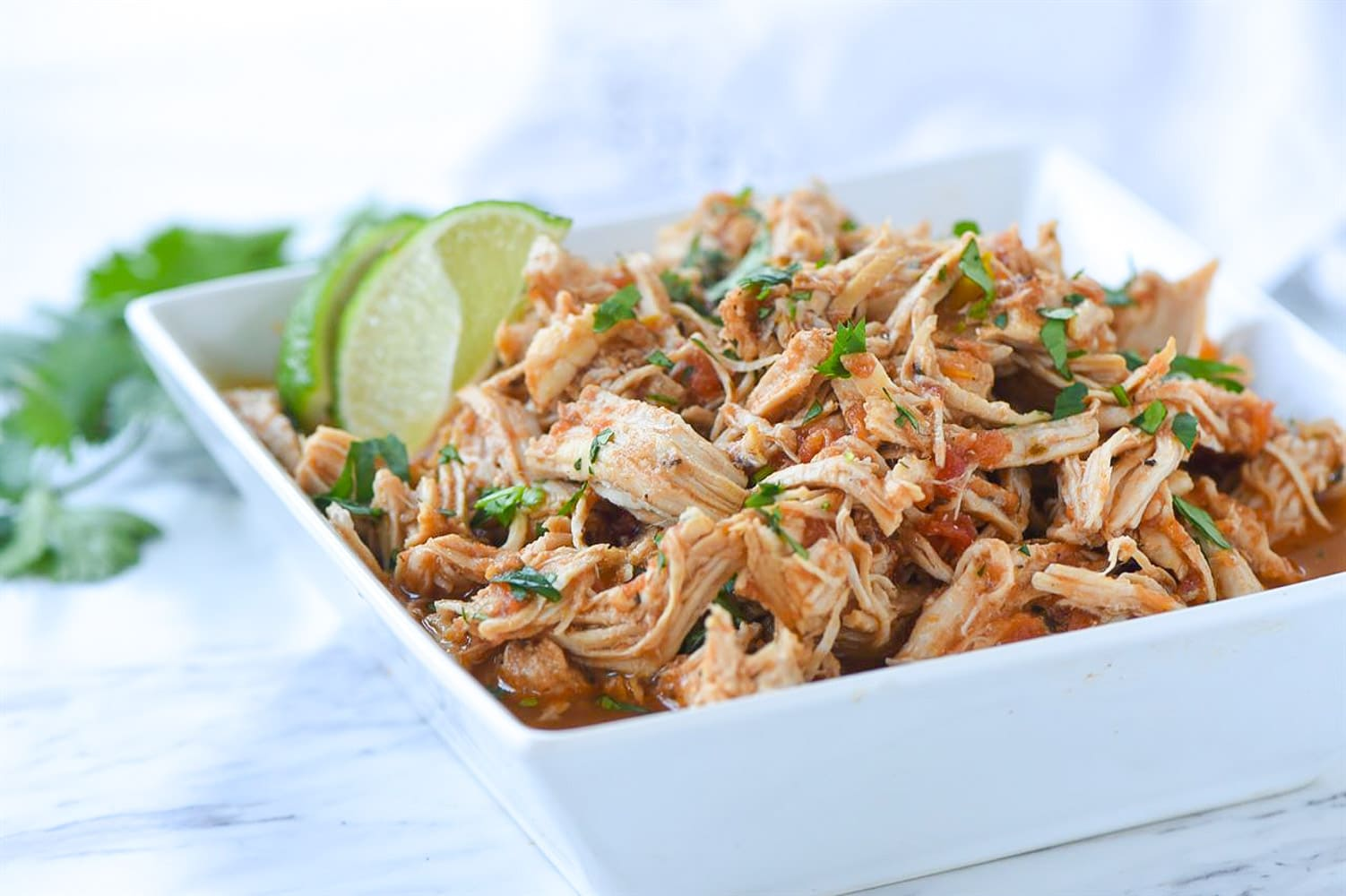 bowl of instant pot mexican shredded chicken