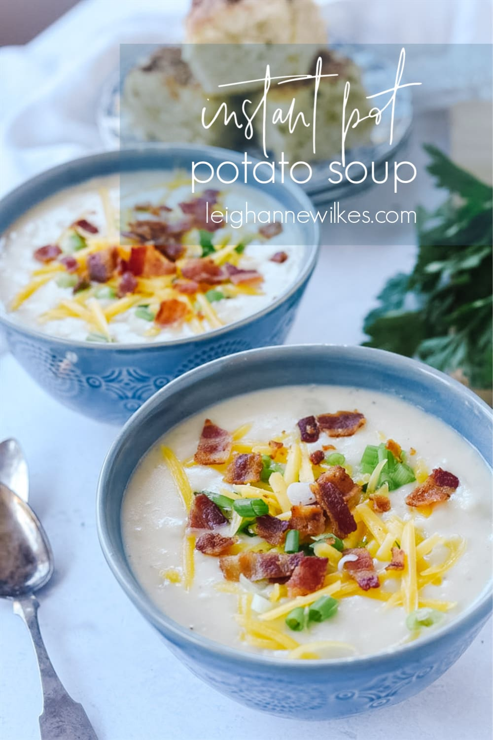 two bowls of instant pot potato soup