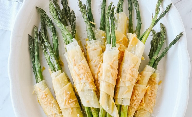 phyllo wrapped asparagus on a plate
