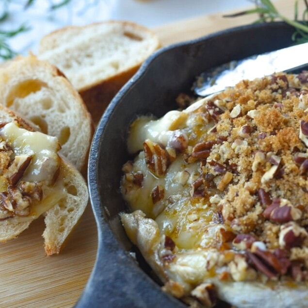 baked brie in a cast iron pan