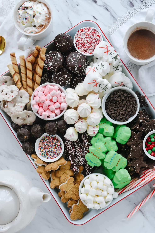 Hot Cocoa snack board overhead shot