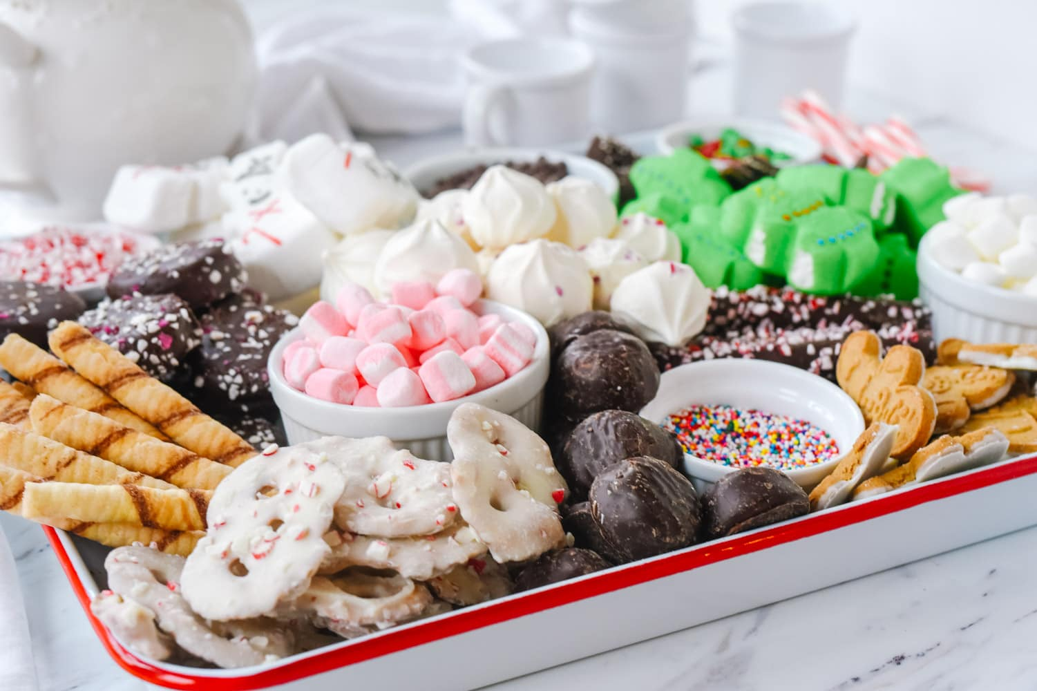 hot chocolate toppings on a tray