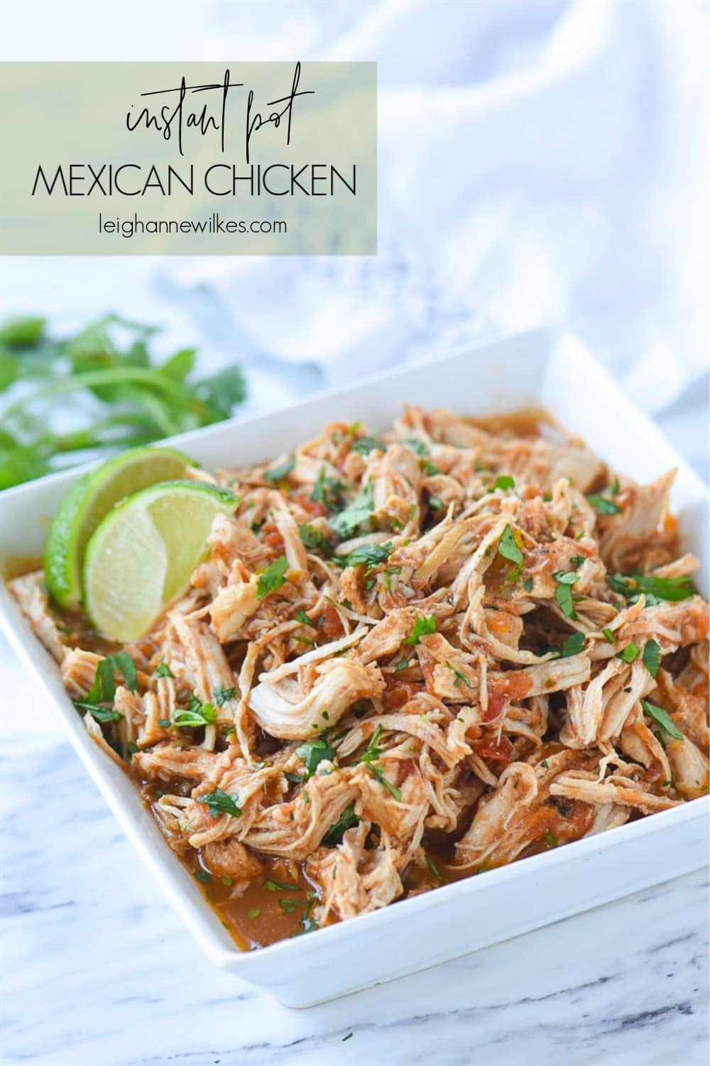 Shredded mexican chicken in a bowl
