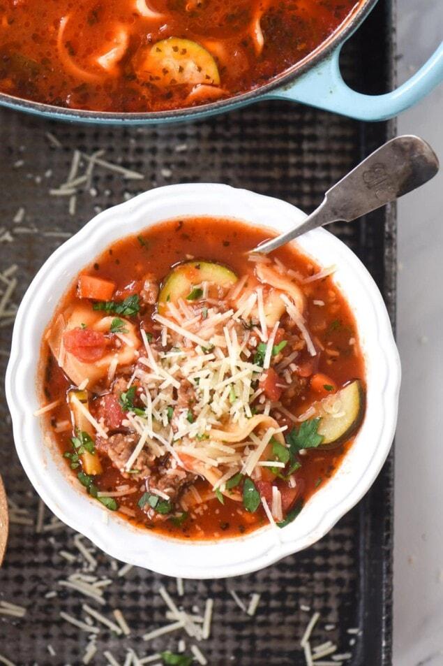 white of sausage tortellini soup