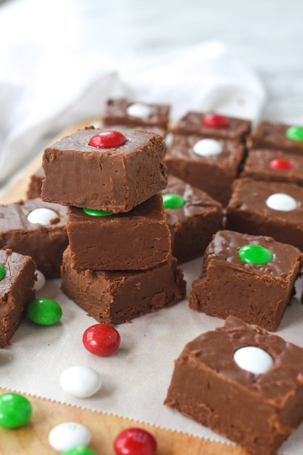 stack of holiday fudge