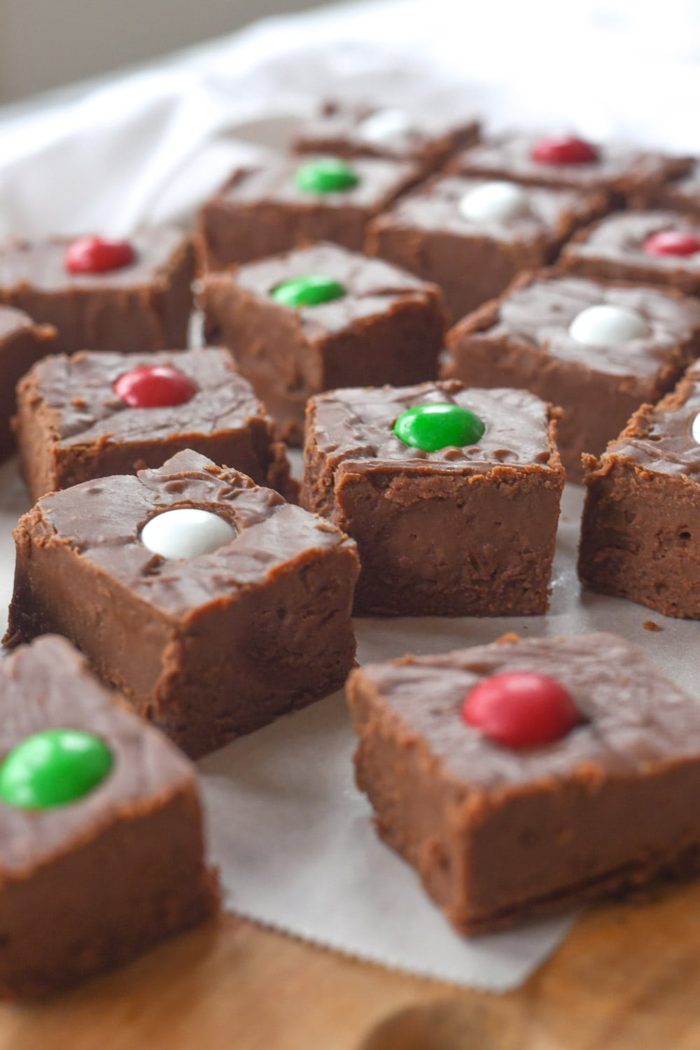 Pieces of peppermint fudge