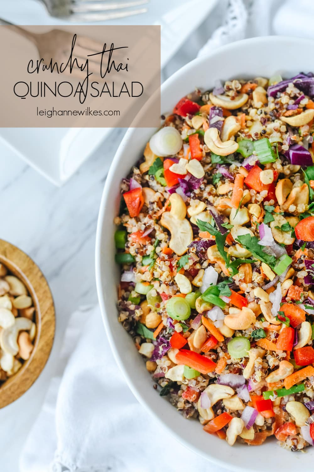 overhead shot of bowl of thai quinoa salad