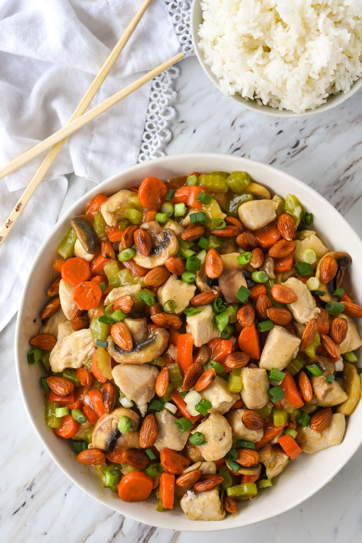 almond chicken stirfry in a bowl