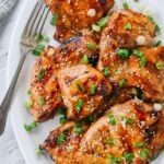 plate of asian bbq chicken