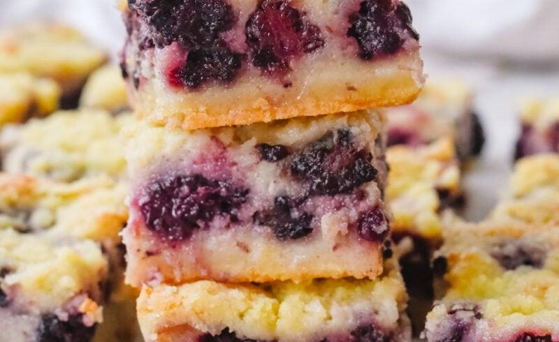 stack of blackberry pie bars