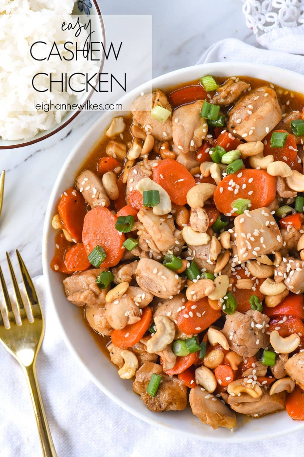 bowl of cashew chicken with rice