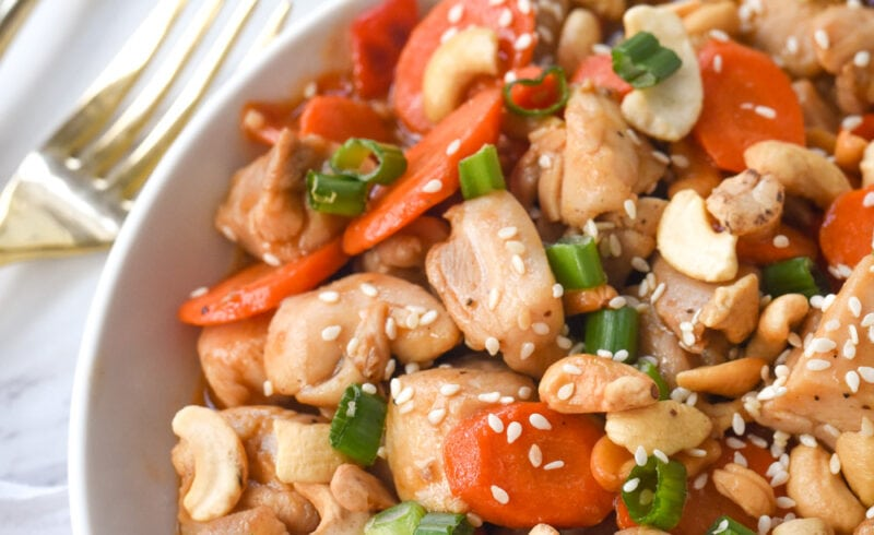 overhead shot of bowl of cashew nut chicken
