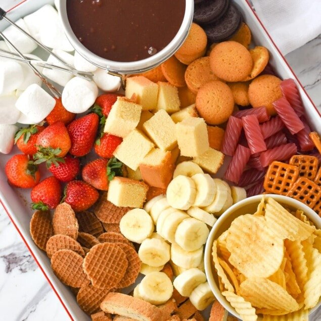 overhead shot of chocolate fondue and dippers