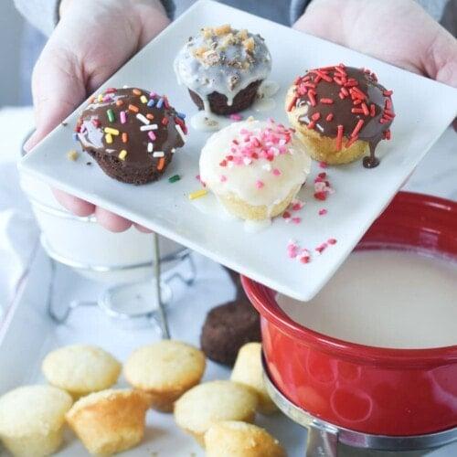 cupcake fondue on a plate