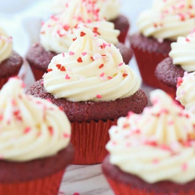 closeup of red velvet cupcakes