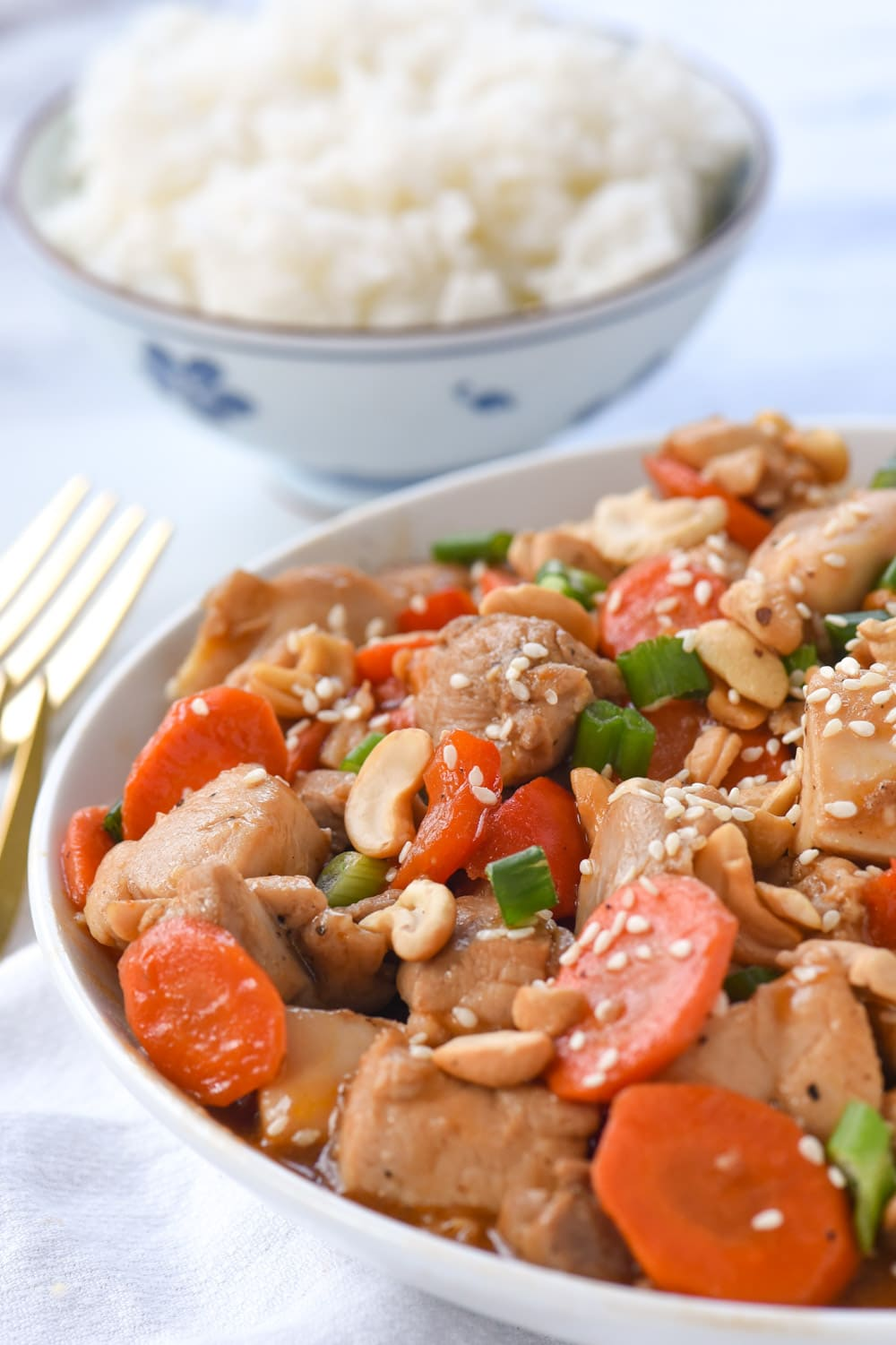 chicken cashew nut stir fry in a bowl with rice