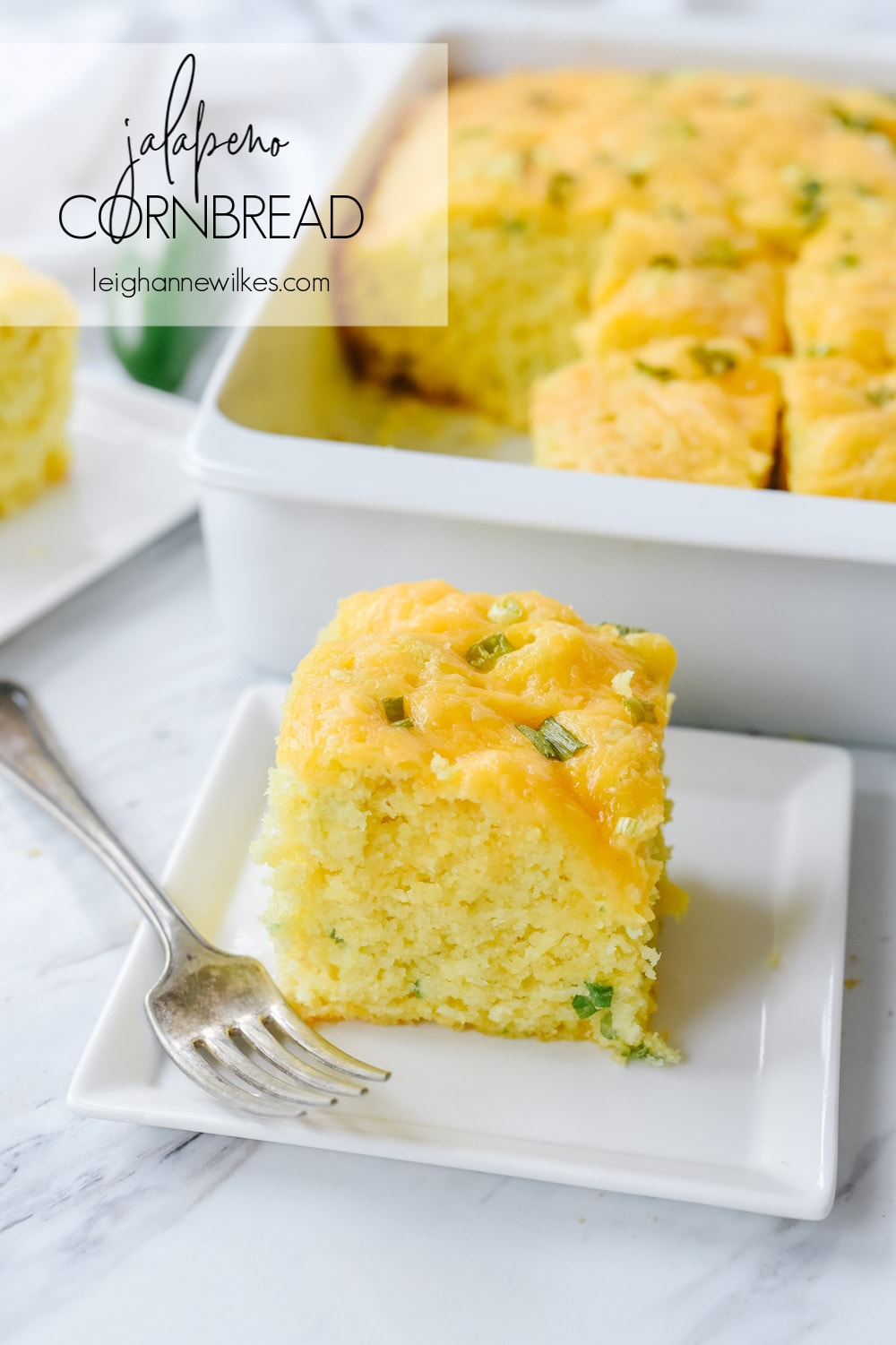 slice of jalapeno cornbread on a plate