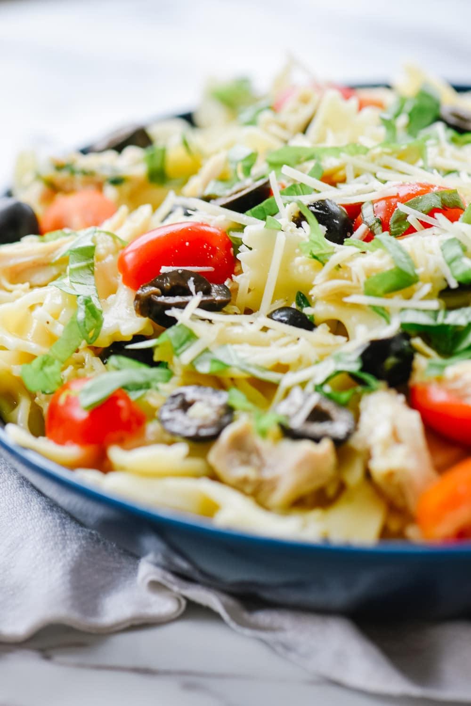 Mediterranean Pasta in a blue bowl