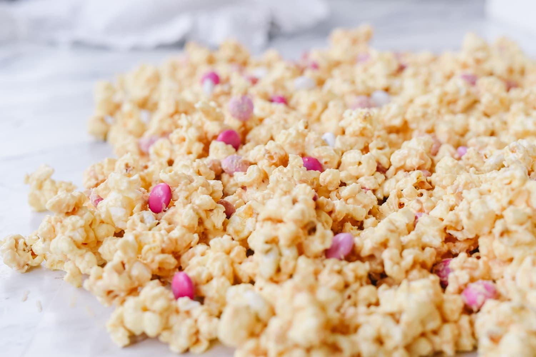 peanut butter popcorn spread on paper