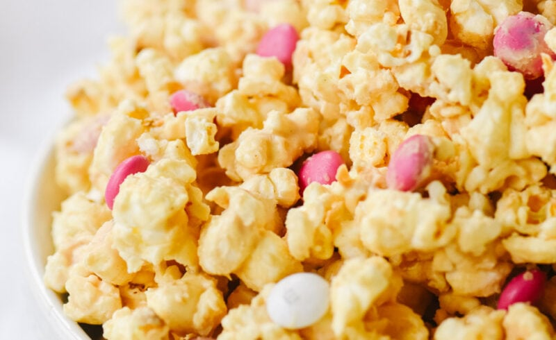 peanut butter popcorn in a white bowl