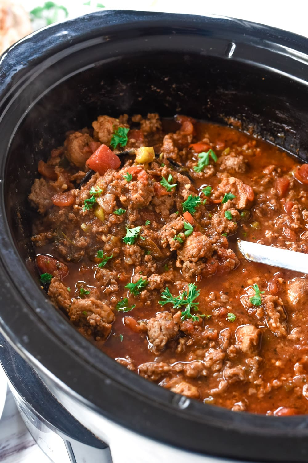 crockpot full of sausage chili