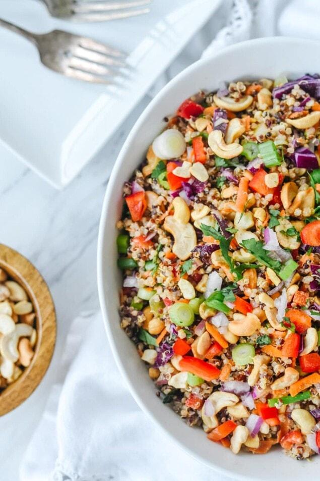 overhead shot of thai quinoa salad