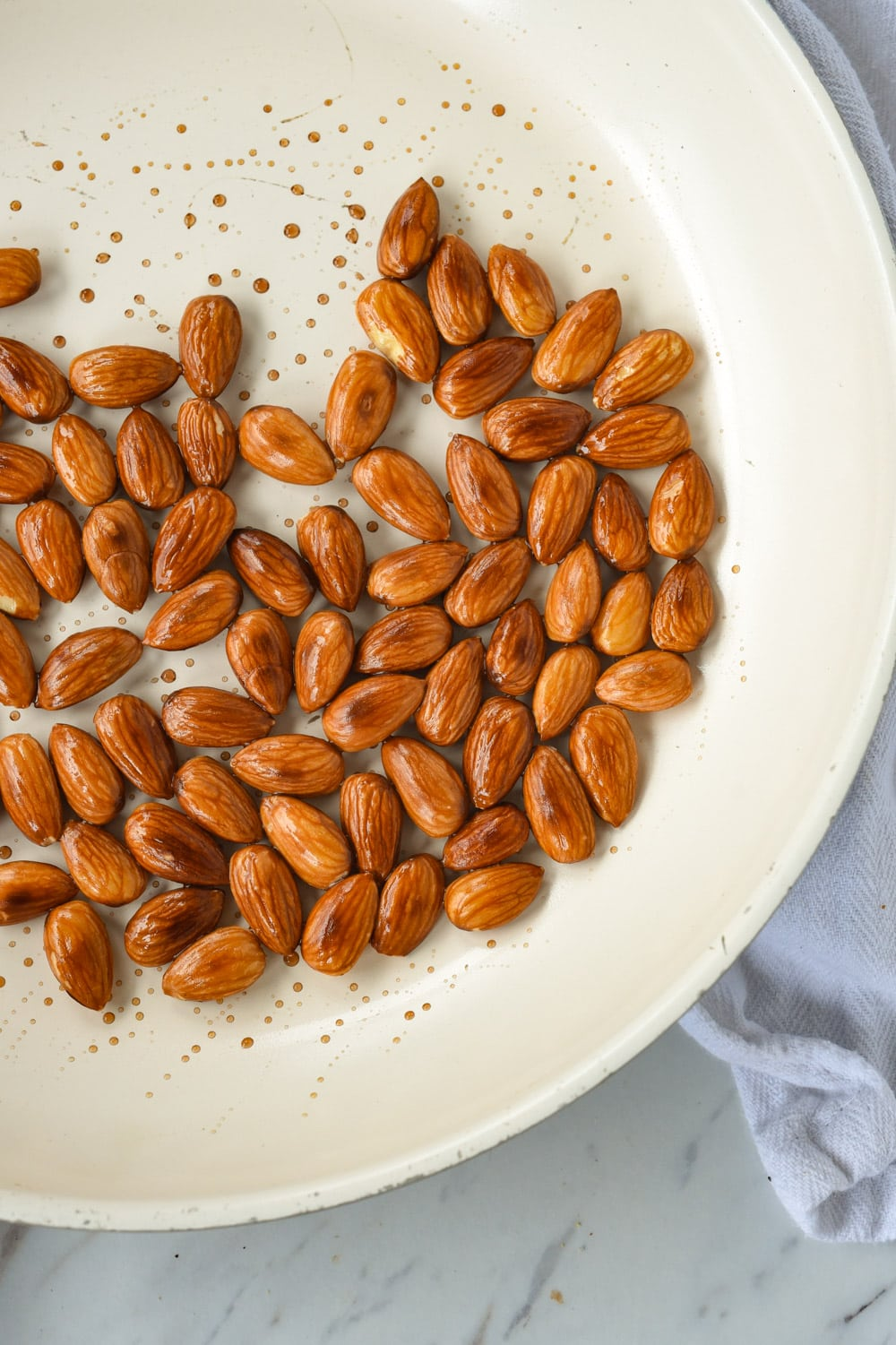 toasted almonds in pan