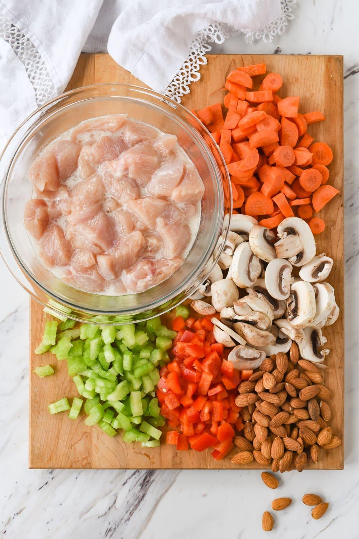 ingredients for Almond Chicken Stir Fry