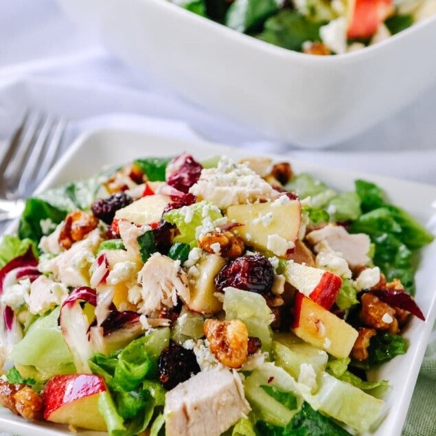 Chopped salad with apples and cranberries