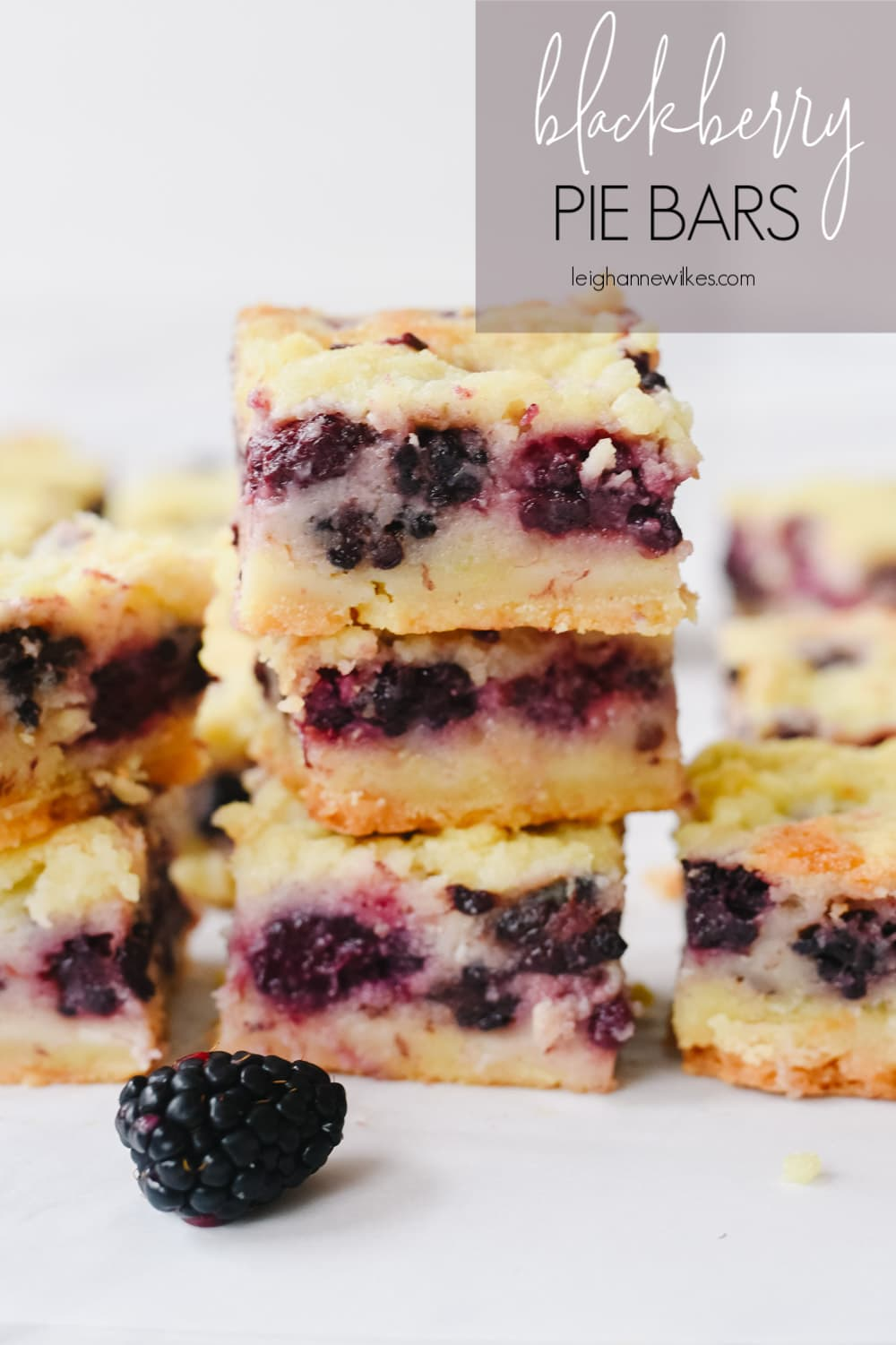 stack of blackberry pie bars