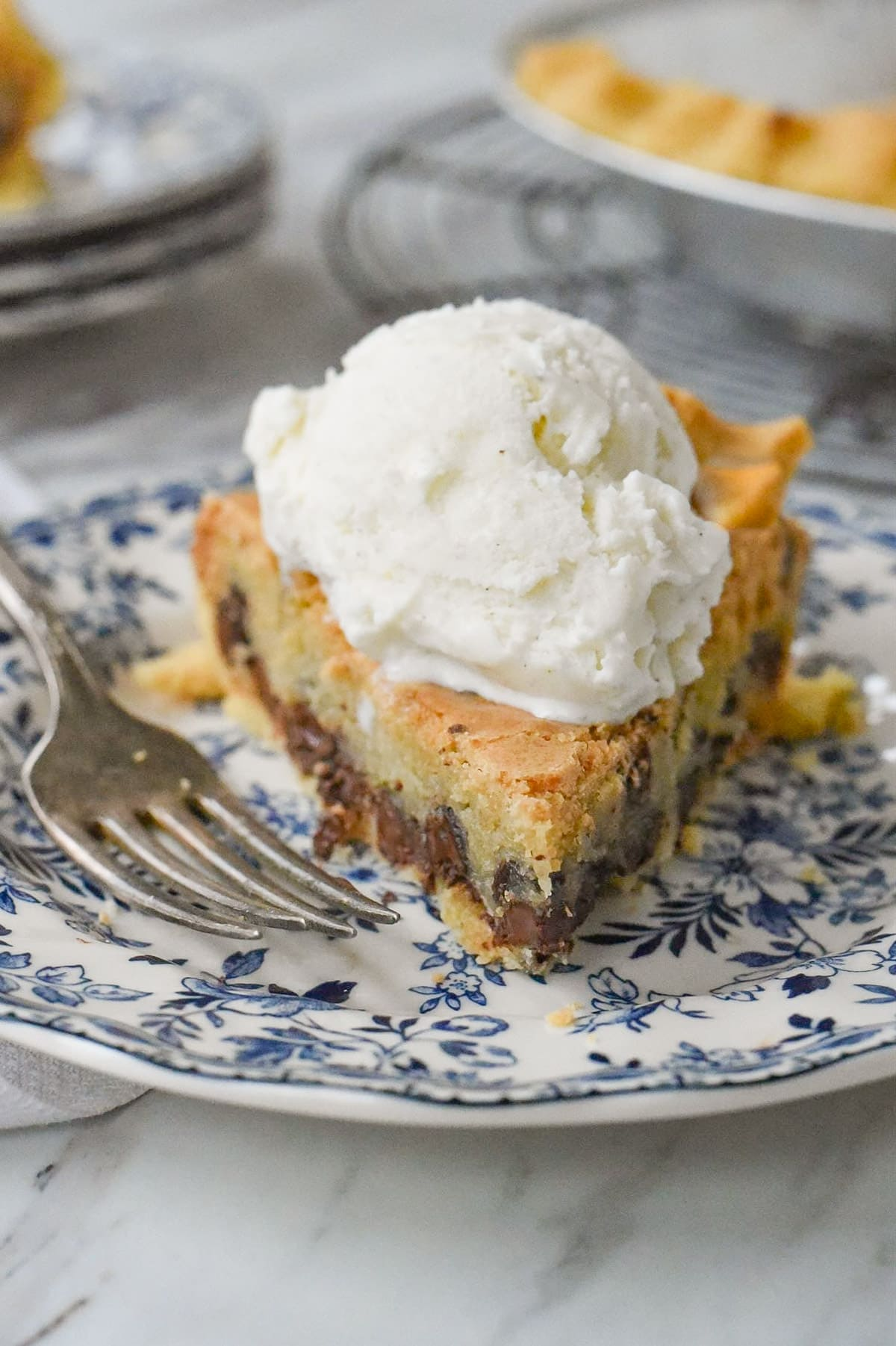 slice of pie with ice cream