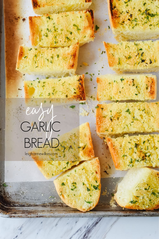 overhead shot of garlic bread slices