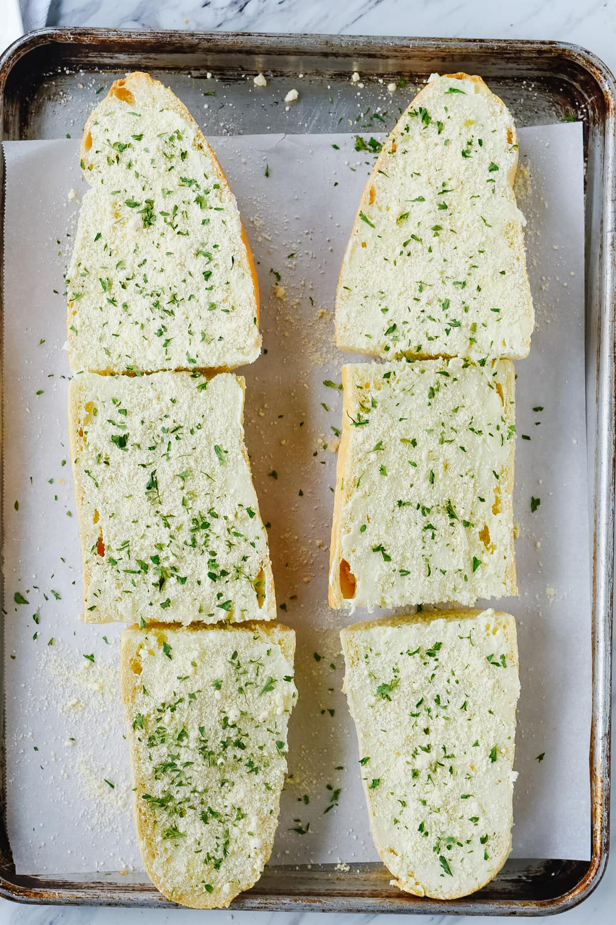 easy garlic bread ready for the oven